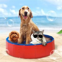 Wholesale blue dog beds - 80*20cm Foldable Pets Washing Basin PVC Dog Bath Pool Tub Bed Pet Play Swimming Pool Cats Dogs Bathing Bathtub Washer Grooming AAA224