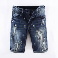 8bb00942ac18 mens koreanische blaue jeans großhandel-Sommer Mode Herren Jeans Shorts  Dunkelblaue Farbe Koreanische Punk Style