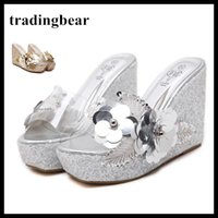Wholesale wedge prom heels - Wedding Sparkly Glitter Silver High Heels For Prom Dress Heels Wedge Heel Sandals Size 34 - 40 41