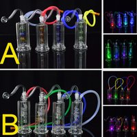 Wholesale small hose online - Small Led Bongs Light Dab Rig quot inch Glass Oil Rig Cheap Water Bong Spiral Recycler Coil Percolator Mini Bubbler with Banger and quot Hose