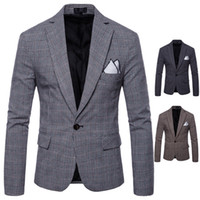 Wholesale Best Clothing For Men - Hot Sales Plaid Mens Suits Long Sleeve One Button Suits for Men Plus Size Groom Best Formal Man Clothes for Mens Wedding FreeShipping