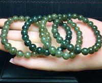 porzellan armband wachs großhandel-Natürliches grünes Kristall Wafer Armband Glückliches grünes Kristallwachs Armband 8mm