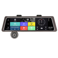 """Wholesale 4g Dvr - 4G 10"""" Touch Screen IPS Dual Lens Car DVR Camera Auto Bluetooth 4.0 Rearview Mirror Video Recorder GPS Navigation for Android"""
