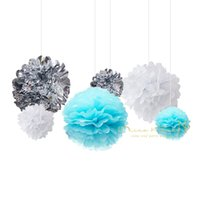 papel de aniversário diy venda por atacado-Eco-friendly 22 Pcs / Lot Azul flores de papel fresco Prata Branco Tassel Garland Sexo Diy feliz Birthday Party Supplies decorativa # Set08