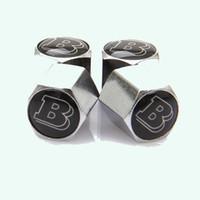 ingrosso tappi antipolvere-10 pz / lotto Bloccaggio Silvery Mercedes BRABUS Anti-Theft Tappo della Polvere Tappo della valvola della gomma Con Auto Logo Distintivi Con Scatola di Plastica
