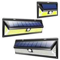 éclairage mural achat en gros de-Lampe de mur solaire de 180COB / 118 LED imperméable à l'eau grand-angle extérieur grand angle de jardin de jardin de garage d'éclairage de sécurité