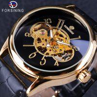 Wholesale Winner Transparent - Forsining Creative Skeleton Black Golden Display Men's Openwork Watch Top Brand Luxury Mechanical Wristwatch Transparent Case