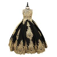 fotos vestidos de festa de ouro preto venda por atacado-Vestido real Pictures Custom Made Flor Girls Dress Gold Lace Black Satin alta pescoço da menina Comunhão Vestidos Pageant Bola de vestidos de festa para meninas