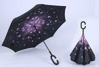 ingrosso ombrello rosa chiaro-19 colori Antivento Inverso Pieghevole Doppio Strato Invertito Chuva Ombrello Auto Stand Inside Out Protezione Pioggia C-Hook Mani Per Auto 20 PZ