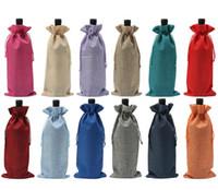 wedding table covers toptan satış-Jüt Şarap Şişesi Şampanya Şarap Kör Ambalaj Kapakları Hediye Çanta Rustik Hessen Noel Düğün Yemeği Masa Süslemeleri 16x36 cm