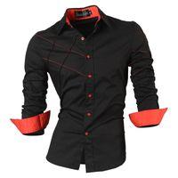botón de camisa de manga larga negro al por mayor-2018 Camisas casuales Vestido para hombre Ropa de manga larga Social Slim Fit Marca Boutique Algodón Western Button Blanco Negro T 2028