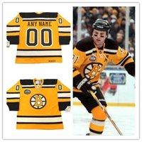 jersey de invierno bruins al por mayor-Custon BOSTON BRUINS 2010 CCM Vintage Winter Classic Jersey de hockey retro cosido Jersey # 4 BOBBY ORR