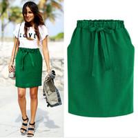 bow midi skirt NZ - 2018 New Spring Summer Elegant Midi Skirts Womens Office Pencil Skirt Cotton Elastic Waist Package Hip Skirt Bow Skirt Green Y1891406