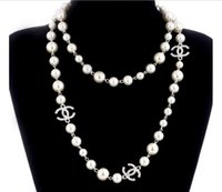 Wholesale Costume Jewelry Long Necklaces - long pearls necklace letters Brand Fashion Women CC Necklace For Women Sweater Chain Multi-layer Flowers Simulated Pearls Necklaces Jewelry