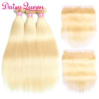Wholesale 32 inch hair extensions 613 - 8A Brazilian Virgin Remy Hair Extensions Straight Body Wave 613 Blonde Human Hair Bundles with Closure 3 Bundles With 13x4 Lace Frontal