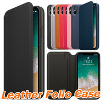Discount iphone 5s slim wallet case - Official Original Leather Folio Wallet Case For Apple iPhone X With Card Slot Sleep Function Slim Flip Cover For iphone 5 5s 6 6s 7 8 Plus