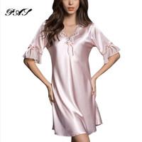 d2d9015586 Nightgown Pijama Victoria Sexy Silk Night Dress Lace Plus Size Short Sleeve Pyjamas  Women Nightwear Sleepwear Nuisette Femme