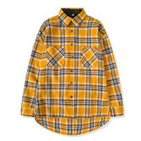 xadrez superdimensionado venda por atacado-nova Hip Hop mais populares justin bieber Homens nevoeiro flanela unisex camisa xadrez vestido de grandes dimensões de manga comprida amarela