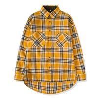 uzun gömlekli gömlekler toptan satış-Yeni Hip Hop En popüler Justin Bieber sis Erkekler unisex pazen Uzun kollu ekose büyük boy elbise gömlek sarı