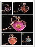 Wholesale lampwork glass heart pendant resale online - murano heart shape lampwork glass pendants aromatherapy pendant necklaces jewelry dry flowers perfume vial bottle pendants necklace