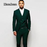 bir düğme uygun toptan satış-Muriel Lester Son Tasarım Mne suit 2017 Bir Düğme Koyu Yeşil Damat Smokin Groomsmen Best Man Suits Mens Düğün Blazer Suits