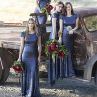 vestidos de casamento do transporte rápido venda por atacado-2018 New Luxury lantejoulas Cap mangas azul marinho vestidos de dama de honra para o casamento longa bainha Party Dress transporte rápido