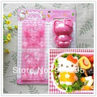 rice cutter NZ - Wholesale-free shipping 1set Cartoon Kitty 3D sushi mold Sandwich   Cheese   Ham Cutter Rice Mold Mould And Stamps