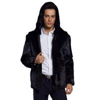 hombres con capucha de piel al por mayor-2018 Hombres Fluffy Faux Fur Abrigo Con Capucha Invierno Grueso Cálido Lujo Chaqueta de Piel Peluda Tallas grandes Sudaderas Con Capucha Masculina Negro Cremallera Outwear