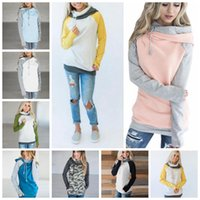 Wholesale double hooded - Double Hooded Pocket Pullover Sweatshirt Tops Women Pullover Hoodie Side Zipper Patchwork Drawstring Sweatshirt 12pcs OOA4711