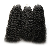 Wholesale human hair extensions micro 24 resale online - New Virgin Mongolian Afro Kinky Curly Hair s Apply Natural Hair Micro Link Hair Extensions Human g Micro Bead Extensions