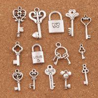 Wholesale antique lockets for sale - 140pcs mix Love Key Locket Charm Beads Antique Silver Pendant Jewelry DIY LM47 Hot styles