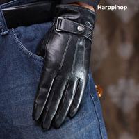 wärmsten herrenhandschuhe großhandel-Harppihop Luxus Herren Handschuhe Hohe Qualität Echtes Leder schaffell Handschuhe Warme Winterhandschuhe mode Männlichen Handschuh luvas G9291