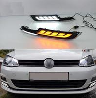 volkswagen için gündüz farları yol açtı toptan satış-2 Adet LED Gündüz Çalışan Işık VW Volkswagen Golf 7 2013 2014 2015 2016 Araba Aksesuarları 12 V DRL Sis Lambası kapağı