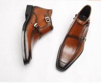 mens botas de cuero de invierno al por mayor-Hebillas dobles para hombre vestido de cuero genuino tobillo Martin botas zapatos 2018 primavera otoño moda invierno botas talladas Derby tallada
