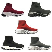 Wholesale wine red boots - High Quality Luxury Sock Shoes With box Running Sneakers Speed Trainer Sock Race Runners black wine red color mens women Casual Shoes