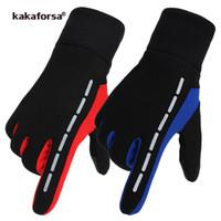Wholesale red climbing gloves - Kakaforsa New Running Gloves Touch Screen Outdoor Sports Glove Windproof Reflective Cycling Climbing Fitness Glove For Men Women