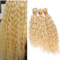 trama ondulada rubia india al por mayor-# 613 Blonde Water Wave Hair Bundle Deals Bleach Rubia Húmeda y ondulada Virgin India armadura de cabello humano Extensiones de trama 300g