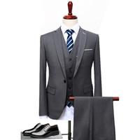 синий костюм серый жених оптовых-2018 Grey Black Blue Men Suit Slim Fit 3 Pieces Groom Tuxedo Formal Party Blazer Wedding Groom Suits (Blazer+Pants+Vest) S-5XL