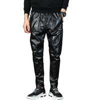 pantalon de jogging en cuir pour hommes achat en gros de-pantalon Hommes Punk Moto Faux pantalon en cuir Homme Harem de entrejambe Pantalons Street Dance DJ Slim Joggers Night Club 71006 Drawstring
