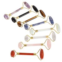 Wholesale tools for beauty salon - Real Jade Rollers Real Facial Massage Pink Jade Roller Authentic Face Massage Roller Face N Eye Massager Tools for Gifts Beauty Salon Tool