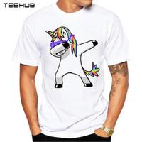 zebra moda gömlek toptan satış-Yaz Moda Dabbing Pug T Gömlek Yeni Erkekler Komik T Shirt Dabbing Unicorn Kedi Zebra Panda Hip Hop Tee Tops