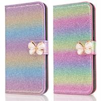 bling credit card case toptan satış-Moda Deri Cüzdan Kılıf Bling Kredi Kartı Tutucu ile Renkli Standı Kılıf Kapak iphone X 8 7 Artı Samsung Note8