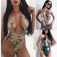 Wholesale swimsuit sequin - Sequins One Piece Sexy V-Neck Bikini Solid Backless Swimsuits Summer Bikinis Set Bathing Suit Swim Wear