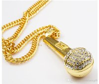 Wholesale rhinestone microphone resale online - free singing KTV Wireless Microphone Rhinestone Pendant Necklace Stainless Steel Gold Plated Rope Chain Collier Fashion Women Men Jewelry