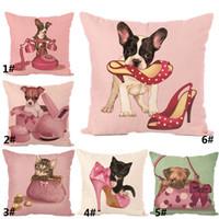 textil gato al por mayor-Nueva Cojín de Lino Funda de Almohada Decorativa Animal Pink Dog Cat Funda de Almohada Sofá Del Coche Textiles Para El Hogar Decoración Del Hogar WX9-722