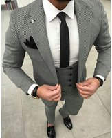 vestido de novia pieza blanca negra al por mayor-Traje de cuadros blanco y negro chaleco chaleco de la chaqueta de 3 piezas personalizado Slim último baile del novio vestido de novia tendencia de la moda