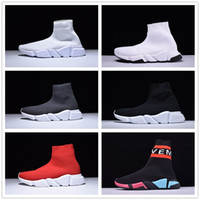 Wholesale pink knit top - Paris Designer Speed Trainer Stretch Knit Mid Black White Fashion Top Sneakers Breathable Socks Shoes Men and women Casual Shoes 35-46