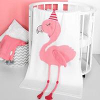 garn baby decken großhandel-Einhorn Flamingo Decke Wolle Garn Stricken Baumwolle Werfen Kinder Baby Herbst Winter Warme Bettwäsche Schal Hohe Qualität 51qt hh