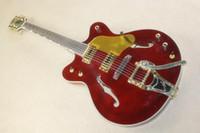 rote hohle körpergitarren großhandel-g Schweizer Semi-Hollow-Rocker-Jazz-E-Gitarre mit dünnem Körper und tiefem Weinrot