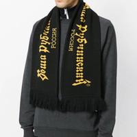bufandas amarillas al por mayor-Gosha Rubchinskiy bufandas patrones de letras de moda unisex verde amarillo Wraps para invierno envío gratis bufanda de Tasseles para hombres mujeres